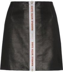 heron preston reflective tape leather mini skirt - black
