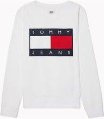 tommy hilfiger women's flag sweatshirt bright white - xxs