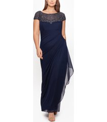 xscape plus size embellished illusion-yoke gown
