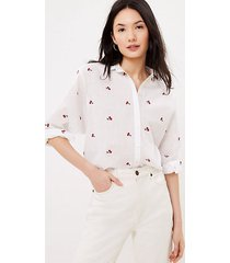 loft cherry embroidered relaxed shirt