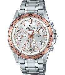 reloj edifice efv-540d-7b para caballero- plateado/ oro rosa