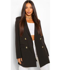 tall double breasted longline oversized blazer, black