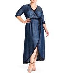 plus size women's standards & practices elle wrap maxi dress