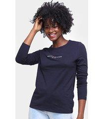 camiseta tommy hilfiger manga longa feminina - feminino