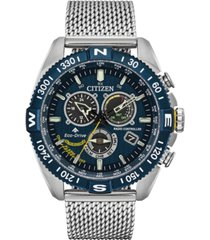 citizen eco-drive men's chronograph promaster blue angels navihawk stainless steel mesh bracelet watch 44mm