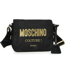 moschino logo nylon crossbody bag - black