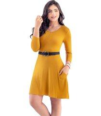 vestido corto para mujer mostaza mp