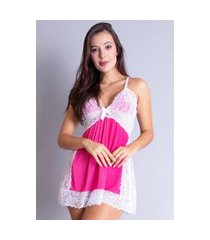 camisola estampada bravaa modas renda curta alcinha pijama dormir 090 rosa