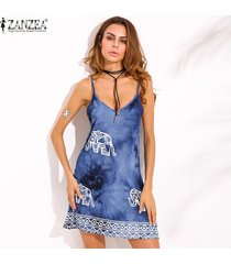 zanzea elefante imprimir una línea vestido sin mangas de la mujer (denim blue) -azul