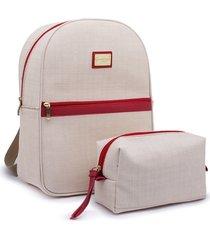 kit mochila e estojo gc gouveia costa palha natural vermelho