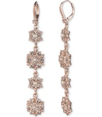 marchesa rose gold-tone imitation pearl & crystal cluster drop earrings