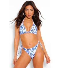 delftsblauwe driehoekige bikini met strikjes, blauw