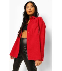 petite oversized corduroy blouse, berry