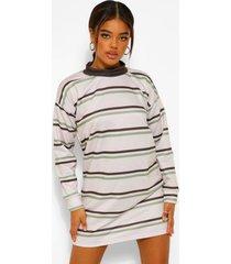 oversized sweatshirt jurk met contrasterende streep, ecru