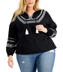 style & co plus size embroidered tassel tunic top, created for macy's