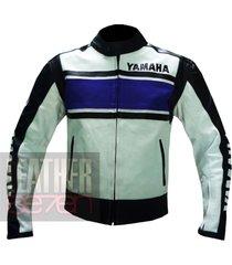 yamaha 5241 blue leather motorcycle motorbike  stylish cowhide safety  jacket