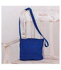 crocheted cotton shoulder bag, 'chevron celebration in blue' (guatemala)
