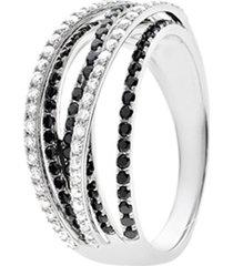 anello in oro bianco e diamanti bianchi e neri 0,17/0,28 ct per donna