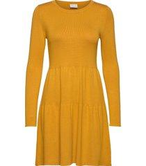 vibolonsia knit l/s dress tb knälång klänning orange vila