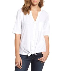 women's caslon tie front tee, size small - white