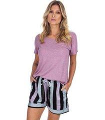 pijama curto com bolso listrado feminino