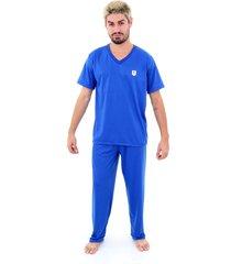 pijama malha fria soneca & cia longo azul royal