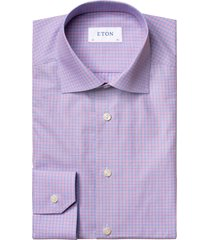 men's eton slim fit orange & blue check dress shirt, size 17.5 - blue
