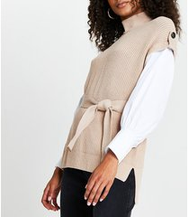 river island womens brown belted poplin sleeve knit top