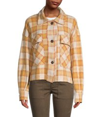 for the republic women's plaid patchwork-elbow jacket - mustard multi - size s