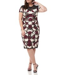 plus size women's js collections floral two-tone embroidered dress