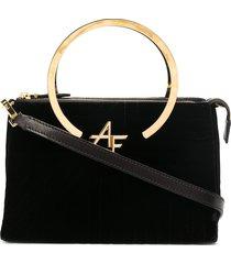 alberta ferretti velvet tote bag with gold-tone hardware - black