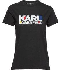 bauhaus stacked logo t-shirt t-shirts & tops short-sleeved svart karl lagerfeld