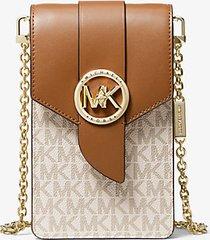mk borsa a tracolla piccola in pelle con logo per smartphone - vaniglia/ghianda (naturale) - michael kors