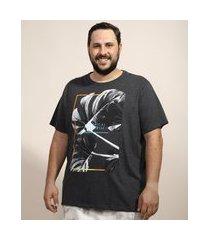 """camiseta masculina plus size folhas tropical paradise"""" manga curta gola careca cinza mescla escuro"""""""