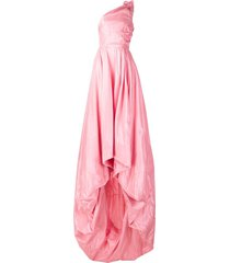 monse one-shoulder silk gown - pink