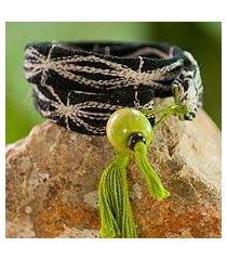 wool and cotton wrap bracelet, 'mystic quetzal' (guatemala)