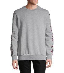 paul smith men's floral embroidery sweatshirt - grey - size xl