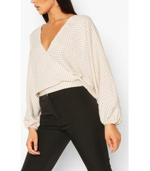 long sleeve wrap top, stone