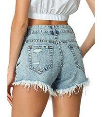 pantalones cortos de mezclilla con detalles rasgados al azar en azul