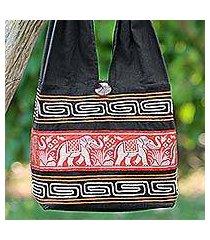 cotton blend shoulder bag, 'thai elephants in vermilion' (thailand)