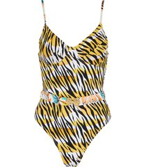 loren' tiger print belted one piece swimsuit