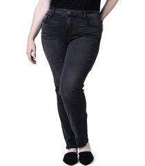 plus size women's slink jeans mid rise slim jeans, size 18w - black