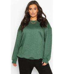 plus basic oversized boyfriend-sweater, kaki