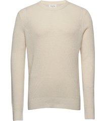 falcon sweater gebreide trui met ronde kraag crème wood wood
