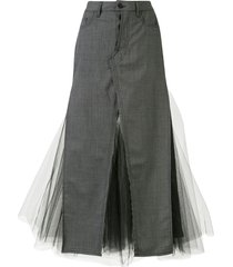 unravel project tulle-insert longline skirt - grey