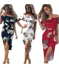new ladies off shoulder floral chiffon dress summer ruffle beach party