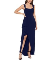 xscape double-strap cascade-ruffle gown