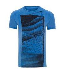 camiseta masculina estampa e lavanderia - azul