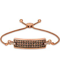 chocolatier 14k strawberry gold®, chocolate diamond® & vanilla diamond® bolo bracelet