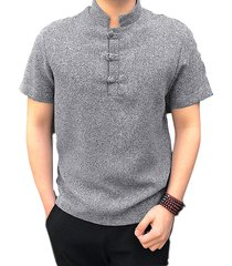 cuello alto frontal con botón para hombre camisa